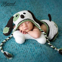 Kawaii Puppy Dog Newborn Clothes Crochet Costume Set Baby Boys Photography Props Winter Cap Knitted Baby Hat Photo Shooting