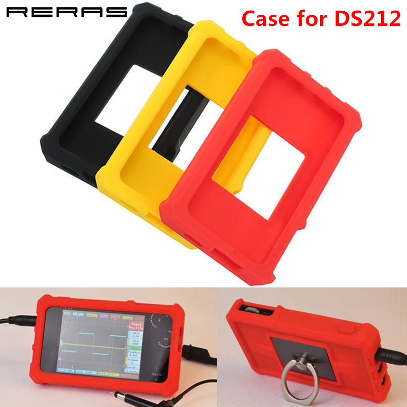 Soft Silicone Case for DS212 Mini DSO Digital Oscilloscope Protective Storage Cover Ring Stand Holder Shell Bag Red Black Yellow image
