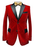 Men Red velvet Smoking Jacket Elegant Wedding Groom Designer Party Wear Blazers black lapel only jacket