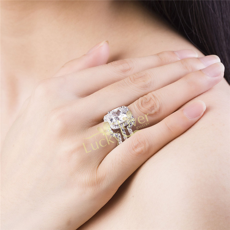 HOT Luxury New Bridal Set Wedding Rings Sets 3 Carat D H Cushion Princess  Cut Best Quality NSCD Synthetic Gem 3PC Ring Sets In Rings From Jewelry ...