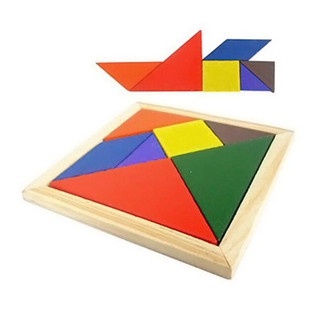 Деревянный Цветной головоломка Танграм Форма когнитивных Интеллектуальное развитие детей Игрушечные лошадки дети просвещения игрушки @ Z57