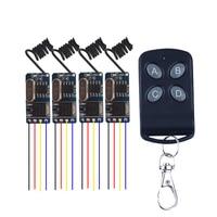 4PCS 433.92mhz 3.7v 4.5v 5v 6v 9v 12V Wide Voltage Micro Receiver Switch Wireless Remote Control Switch + Transmitter