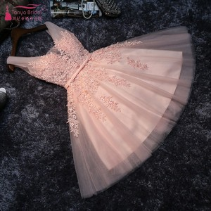 Candy Color Lace Short Blush Pink Homecoming Dresses Simple Appliques Illusion Neck V Back Fashion graduation dresses JQ451(China)