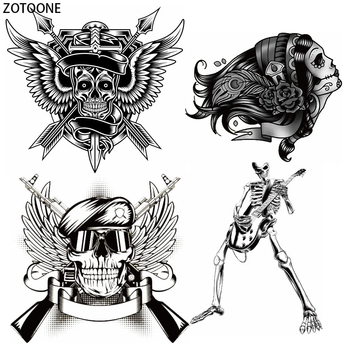 ZOTOONE Punk Skull Garment Patch for Clothes Iron-on Transfer DIY T-shirt Washable Appliques Wild Heat on Transfers for Clothing iron on patches big skull punk heat transfers for clothes stickers military badges diy t shirt applique tops print washable e