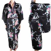 New Arrival Black Vintage Japanese Women's Kimono Haori Yukata Silk Satin Dress Mujeres Quimono Peafowl One Size H0030