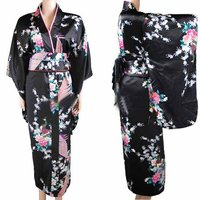 New Arrival Black Vintage Japanese Women's Kimono Haori Yukata Silk Satin Dress Mujeres Quimono Peafowl One Size H0030