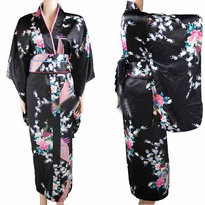 Nouvelle Arrivée Noir Vintage Japanese kimono Haori Yukata Soie Satin Robe Mujeres Quimono Paon Une Taille H0030