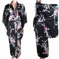 Nueva llegada negro Vintage mujer Kimono Yukata Haori vestido de satén de seda Mujeres Quimono pavo real un tamaño H0030