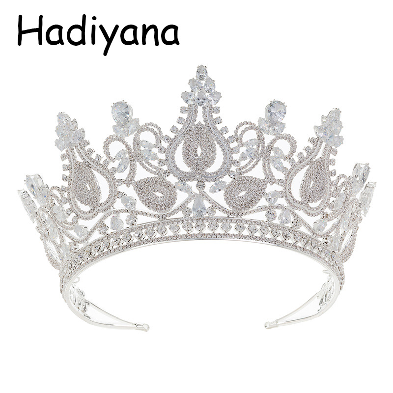 все цены на Hadiyana Hot Sale Wedding Bride Bridesmaid Tiara Crown Headband New Fashion Cube Zinconia Party Jewelry Crown HG6075