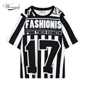 Plus Size Black White Stripe Hip Hop Unisex Number Tshirt Woman Loose T Shirt Religion  roupas femininas Punk clothing TS-038