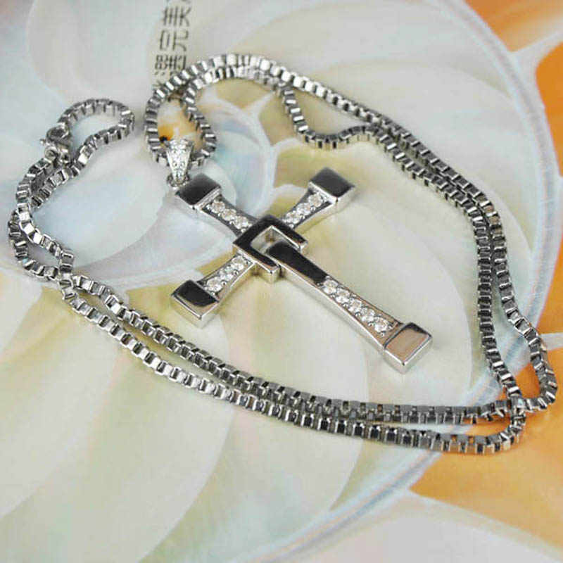 STARYEE 925 Sterling Silver The Fast and Furious 8 Dominic Toretto Cross Pendant Necklace Vin Diesel Men Women Free Engraving