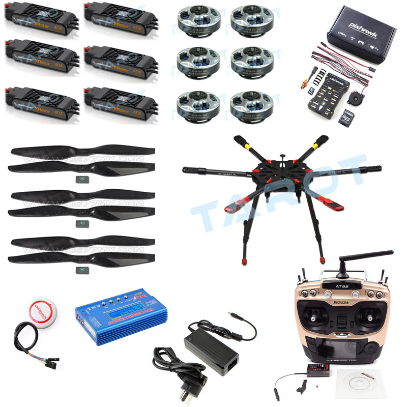 Tarot 2.4G 10CH RC Hexacopter Drone 960mm X6 Folding Retractable Frame 5008 Motors PIX PX4 M8N GPS ARF/PNF DIY Unassembly Kit tarot rc 75 degree all metal cnc large scale electric retractable landing gear skid tripod load 30kg tarot tl4n004 diy drone