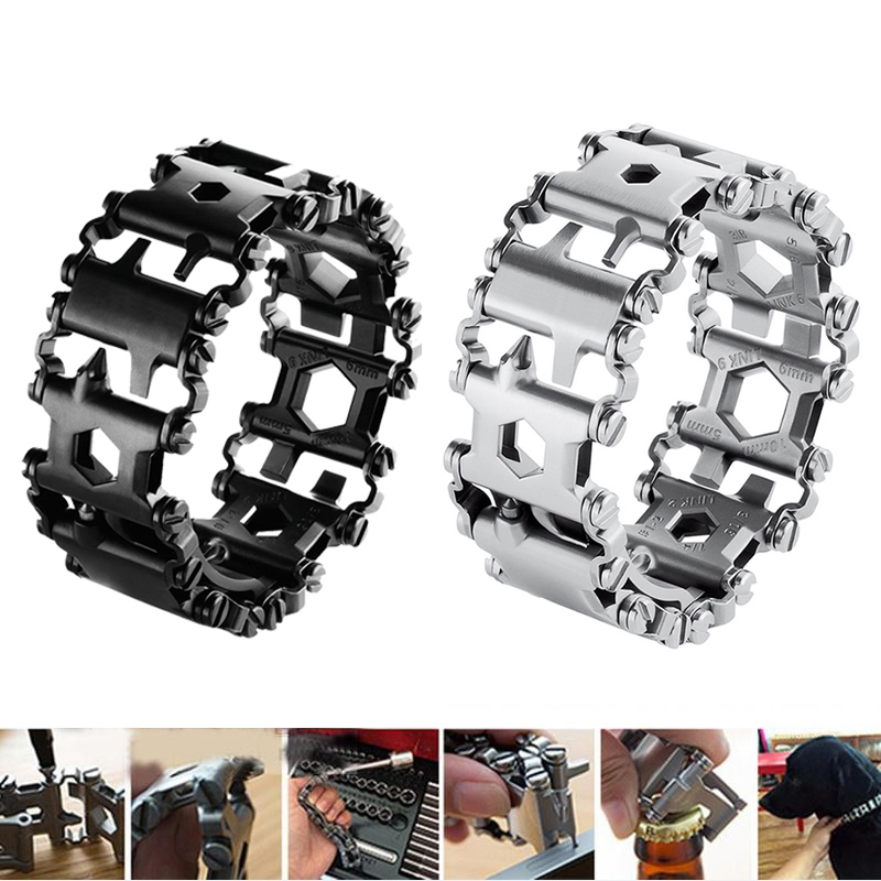 Multifunctional Tool Bracelet Pocket Outdoor Travel Product portable Pry Screwdriver Stainless Steel Bar Beer Bottle Opener stainless steel beer bottle soda bottle spices bottle cap opener black silver