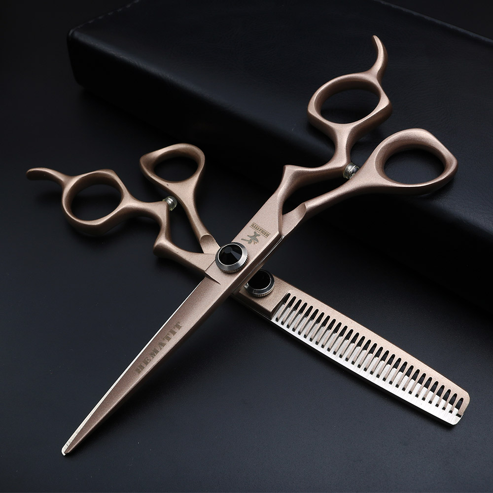 "6"" JP 440C Rose Gold Professional Hairdressing Scissors Thinning and thinning scissors Hair Scissors"