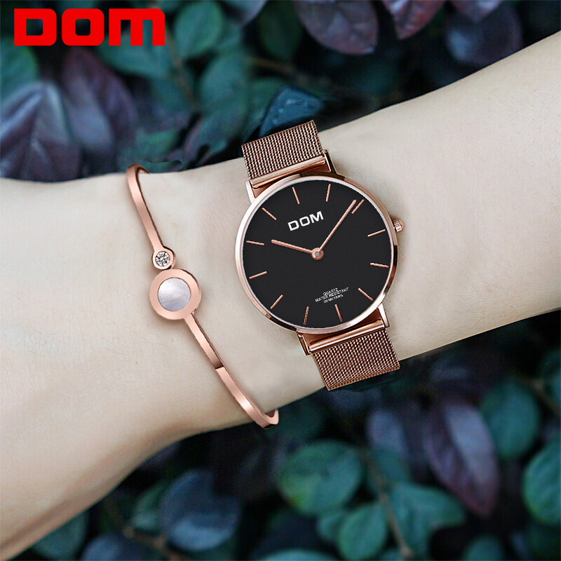 Genuine watch DOM Brand Luxury Women Watches Waterproof Business Rose Gold Stainless Steel Ladies Quartz Wrist watch G-36G-1M1 2017 new jsdun luxury brand automatic mechanical watch ladies rose gold watches stainless steel ladies tourbillon wrist watch