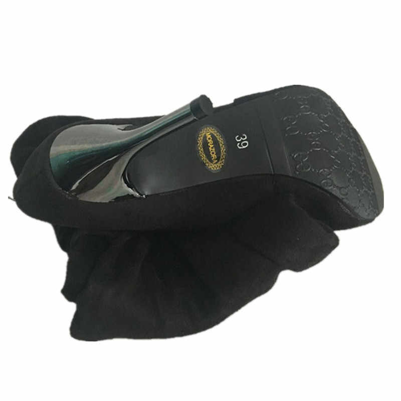 MORAZORA artı boyutu 34-43 yeni moda ayakkabılar diz çizmeler üzerinde kadın yüksek topuklu sonbahar sivri burun akın siyah ince yüksek çizmeler