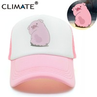 CLIMATE 2017 Cute Gravity Falls Mabel Dipper Pink Pig Waddles Mesh Summer Trucker Caps Youth Pink