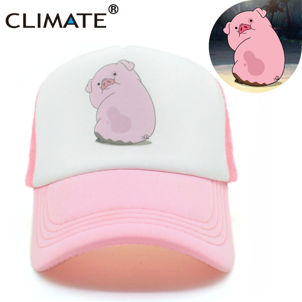 CLIMATE 2017 Cute Gravity Falls Mabel Dipper Pink Pig Waddles Mesh Summer Trucker Caps Youth Pink Girls Cool Net Mesh Hat Cap high quality cotton gravity falls u s cartoon animation mabel dipper fans adult kids boys girls baseball hat caps gorras planas