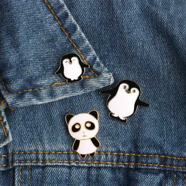 3 Style Cartoon Cute Funny Mini Penguin Panda Enamel Pin Brooch Pins Denim Jackets Bag Badge Animal Metal Brooches For Women Men