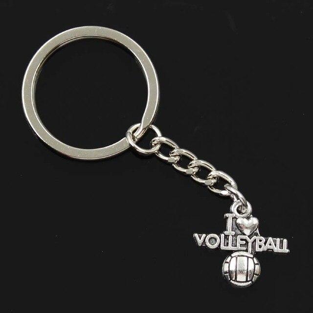 Nueva Moda hombre 30mm llavero DIY metal soporte cadena vintage i love voleibol 21x20mm colgante de plata regalo