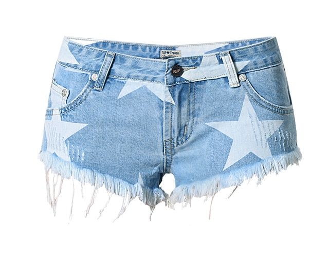 c33655c2763 Women Jeans Shorts Fashion Summer Girl Hot Shorts Casual Star Printing  Fringed Blue Denim Shorts Tassel