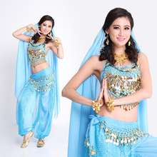 2017 Belly Dance Indian Bollywood Dance Costumes for Women in Belly Dance Wear Top Pant Belt Veil for Women Competition 4 Colors