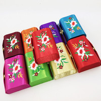 Mirrored Embroidered Craft Candy Favor Box Satin Jewelry Packaging Empty Double Lipstick Storage Case Lip Balm