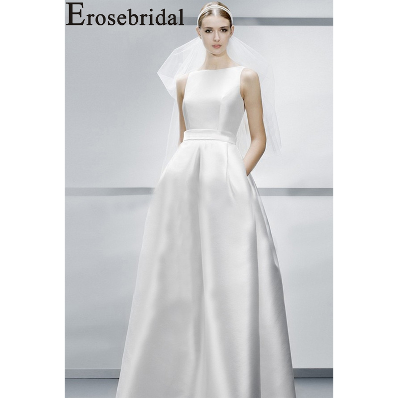 Erosebridal New Arrival 2019 White Satin Evening Dress Square Collar Evening Gown Backless Formal Party Dress