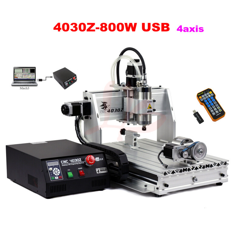 Russia tax free  Mini CNC cnc router 3040 800w 4 axis machine 3D engraving machine USB with wireless mach3 remote controller russia tax free cnc woodworking carving machine 4 axis cnc router 3040 z s with limit switch 1500w spindle for aluminum