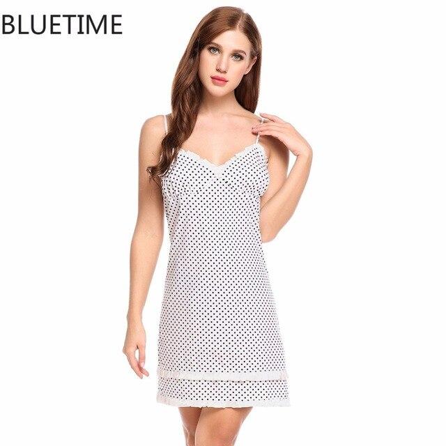 Polka Dot Sexy Nachthemd Nachthemd Frauen Sommer 100% Baumwolle ...