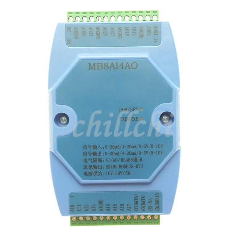 0 20MA/4 20MA/0 5V/0 10V 8 way analog acquisition and 4 way analog output acquisition module MODBUS RS485-in Integrated Circuits from Electronic Components & Supplies