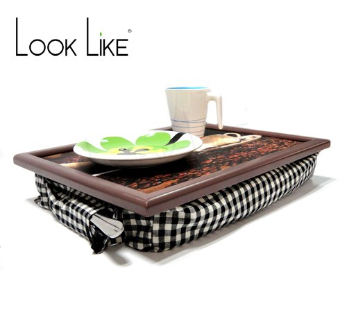 outdoor heat resistant mobile tables wooden lap tray furniture with soft cotton cushion for dinner