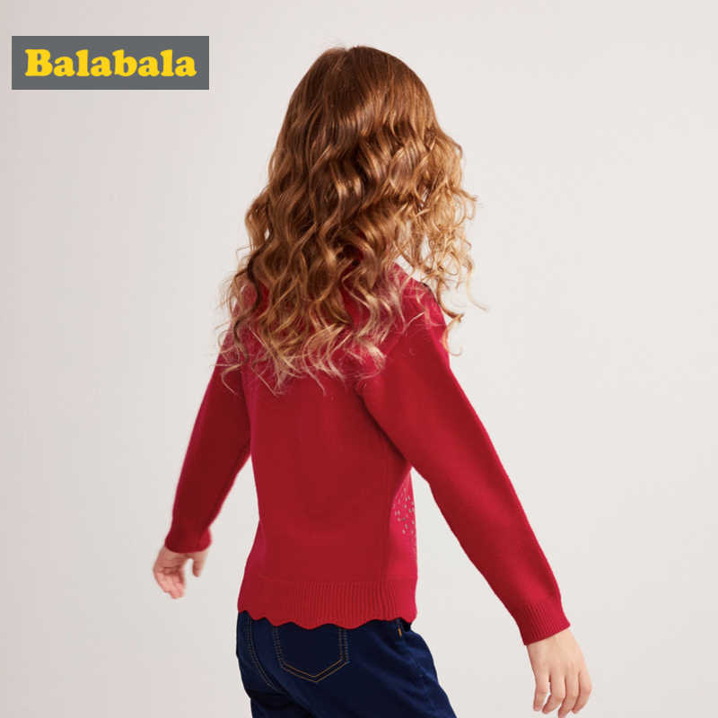 Balabala/свитер с воротником под горло для девочек, с пайетками, со спущенными плечами, с оборкой, с кромкой, в рубчик, с манжетами и подолом