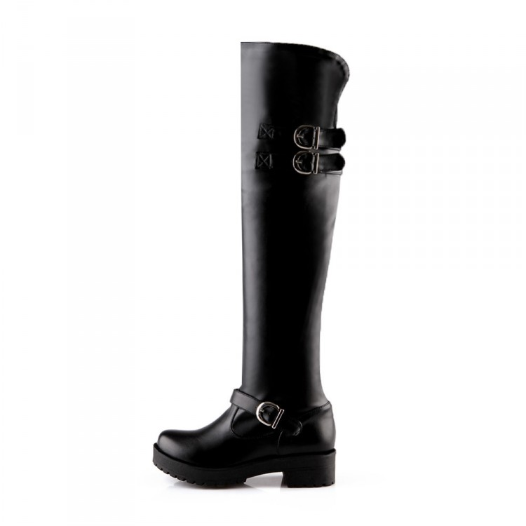 Zapatos Nuevo Mujeres Tamaño Negro Plataforma Caliente 43 Impermeable Rodilla Sobre Grueso Botas Invierno Redonda Lanyuxuan 5915 Punta 34 Piel Tacón axqw1afdT