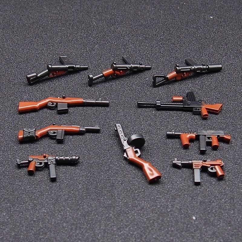 10 יחידות Moc WW2 צבא צבאי נשק רובים בניין בלוקים לבני דמויות תואם Legoings צעצוע לילדים