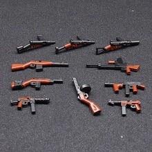 10 Pcs Moc WW2 Exército Militar arma Armas de brinquedo de blocos de construção de Mini Figuras tijolo Compatível Legoings para crianças