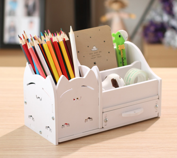 Home Office Desk Stationary Storage Box Pen Holder Desktop Storage Small Gadgets Collect Set bamboo pattern wooden small gadgets pencils rulers pens holder