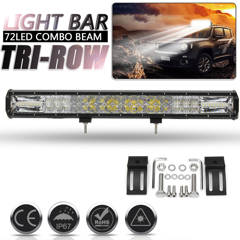 24 Inch 5D 72 LED Work Light Bar 648W Waterproof Flood Spot Combo LED Work Light Driving Lamp For SUV ATV Offroad 4WD Car Truck tripcraft promotion 20 inch 60w crees led single row work light bar spot flood combo offroad driving lamp suv atv 10v 30v