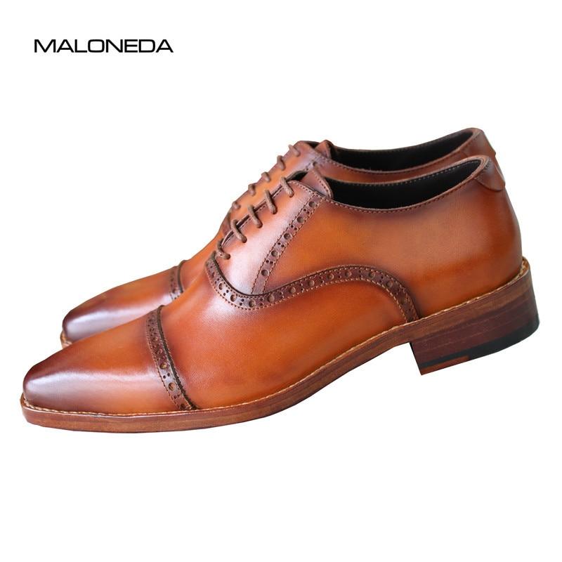 Com Couro O Da Marrom Novos Maloneda Sapatos Para Welted Goodyear Casamento Handmade De Oxfords Genuíno A Marca Dos Homens waqPIFR