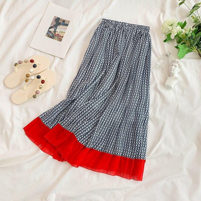 2019 new fashion women's skirts Geometric pattern skirt elastic waist pleated skirt