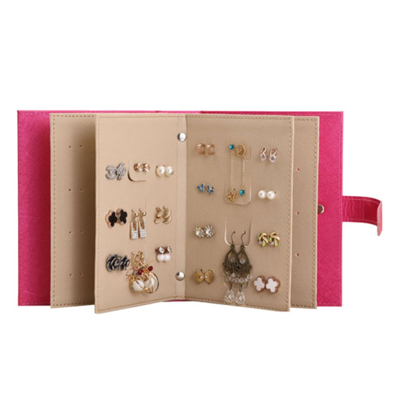 Fashion Women PU Leather Stud Storage Bag Earrings Collection Accessories Necklace Jewelry Book Display Box Organizer