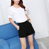 Шифоновые элегантные тонкие шорты женские черные широкие шорты Высокая талия широкая линия ноги короткий костюм брюки шорты женские S-3 XL