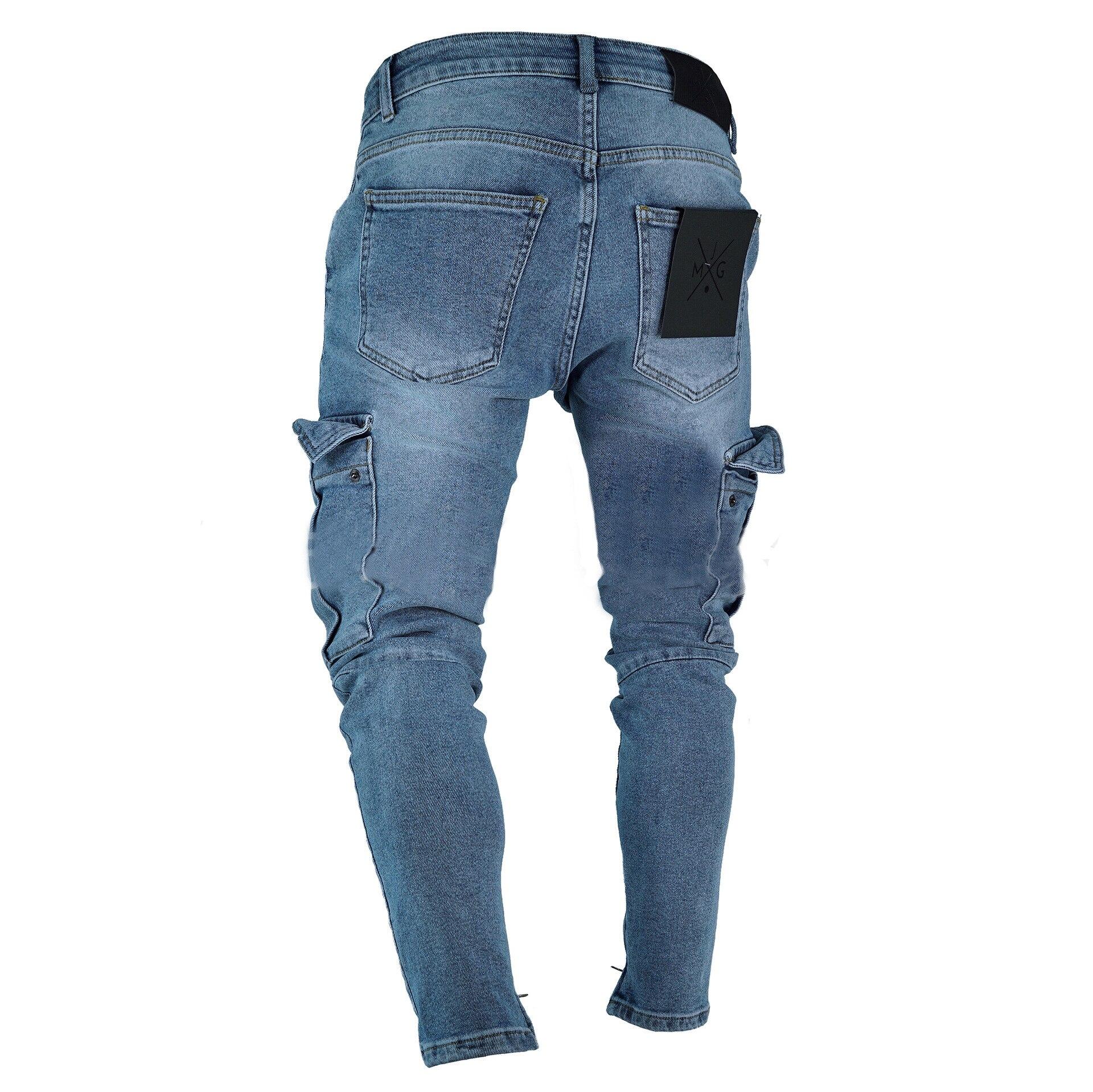 Мужские джинсовые брюки карго, джинсы с боковыми карманами Карго, обтягивающие джинсы, мужские облегающие длинные брюки