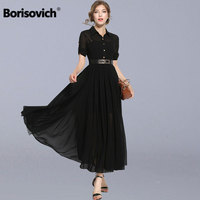 Borisovich High Quality Women Black Chiffon Long Dress New 2018 Spring Fashion England Style Ladies Elegant Party Dresses M163