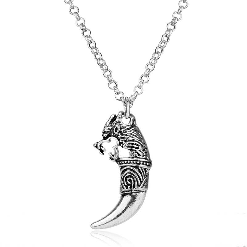 Vinage Link Chain Necklace for Punk Women Men Wolf Tooth Colar Spiker Pendants&Necklaces
