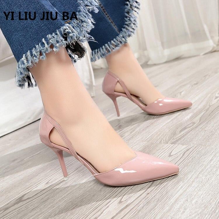 2019 Venta caliente Zapatos de Mujer de moda Zapatos de punta puntiaguda PU vestido de cuero Zapatos de tacón alto Zapatos de boda Mujer Zapatos ** 459