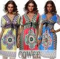 2016 Sexy verão mulheres BOHEMIAN MAXI DRESS Paisley imprimir V neck Boho Hippie vestido de verão ( S-XXL )