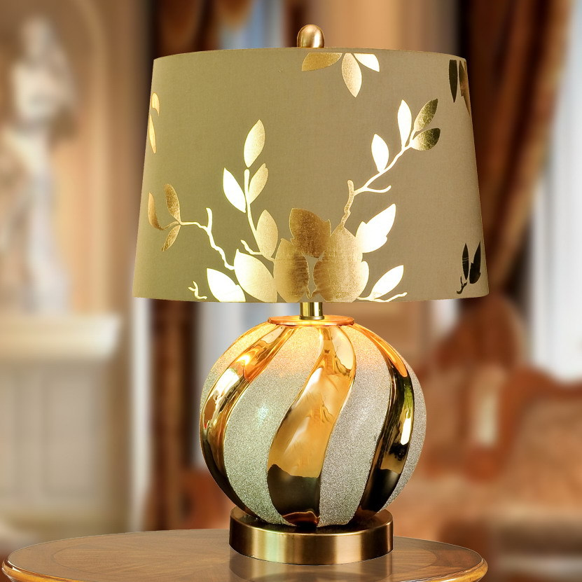 Earnest Tuda 40x58cm Free Shipping Luxurious Gold Table Lamp Creative Round Ceramic Table Lamp Led Table Lamp For Bedroom Living Room