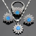 Snowflake Blue Opal White Stones Silver Color Jewelry Sets For Women Necklace Pendant Stud Earrings Rings Gift Box