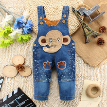 6M-24M Infant Baby Overalls Girls Boys Denim Long Pants Jeans Rompers Elephant Animal Baby Clothes Toddler Jumpsuit Clothing